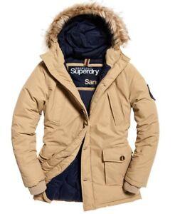 "New Mens Superdry Faux Fur Trimmed Everest Coat Sand Size: L 40""(102cm) RRP £150"