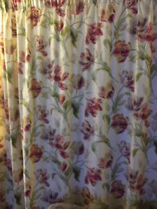 LAURA ASHLEY  'Gosford CRANBERRY' LINEN Curtains