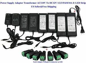 2pcs AC110V To DC12V 6A 72W LED Power Supply Adapter Transformer for LED Strip