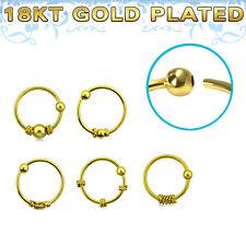 Nasenring vergoldet Gelbgold 8 x 0,8 mm Muster zur Auswahl Nasenpiercing Ring