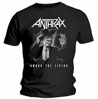 Official Anthrax T Shirt Among The Living Black Mens Classic Rock Metal Tee New