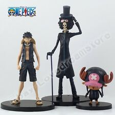 Set of 3pcs One Piece Monkey D Luffy Chopper Brook 8cm-21cm PVC Figure Loose