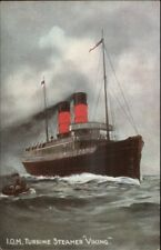 IOM Turbine Steamer Viking Steamship Isle of Man c1910 Postcard jrf
