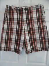 Sz 34 Mossimo Supply Co. Brand Red Plaid Board Golf Casual Shorts Men's Size 34