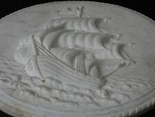 "Antique Tall Sailing Ship Chalkware / Plaster Relief 11"" Round Wall Hanging"