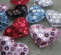 200/50pcs Padded Felt heart Sequin Appliques Craft Kid's Doll Lots U Pick E145