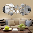 32x Circle Mirror Tile Wall Sticker Art Decal Stick On Bedroom Home Art Decor Uk