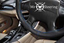 FOR ISUZU TROOPER 97+ PERFORATED LEATHER STEERING WHEEL COVER L BLUE DOUBLE STCH