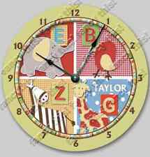 Nursery Wall Clock ALPHABET SOUP Personalized Baby Toddler Boy/Girl Room Decor