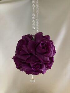 Purple Silk Flower Girl Pomander Wedding Kissing Ball