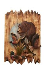 Wildlife Bear With Ducks, And Loons Wood Carving Wall Art Cabin Rustic Decor