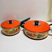 Set Of 2 Mid Century Retro Red With Veggie Print Enamel Cookware Pots Pans Lids