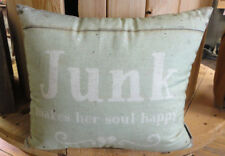 Throw Pillow- Two Sided - Junk Makes Her Soul Happy  - Primitives By Kathy