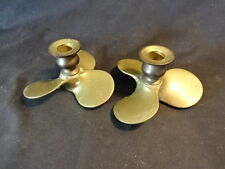 """Collectible Pair Of Brass Propeller Prop Candle Holders 4 1/2"""" x 4"""""""