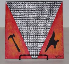 Faux 3D Studded Hammer/Anvil/Flames Flagstone Painting By Elissa Shakal W/Easel