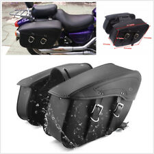 2pcs Motorcycle Left Right PU Leather Saddle Bags Tail Side Pannier Luggage Bags