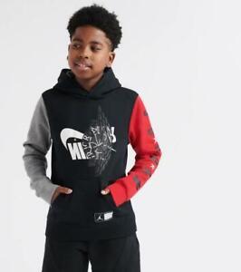 Kids Nike Air Jordan Wings/Futura Hoodie Black/Grey/Red 955807 023