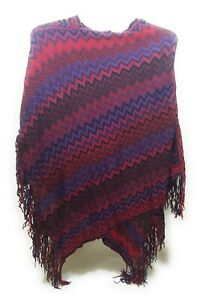 Chevron Stripes Fall Winter Poncho Fringe Cover Up Shawl Wrap Top Purple Red