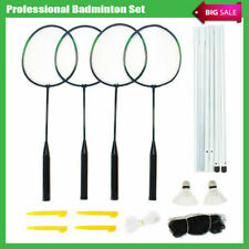 4 Players Badminton Racquet Set Racket 2 Shuttlecocks Net Poles Bag  AU