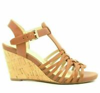 Isaac Mizrahi Live! Simmer Women Leather Ankle Strap Sandals Size US 6W Brown