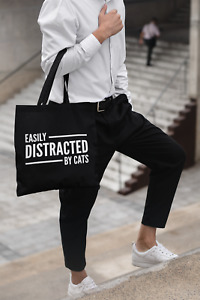 Easily Distracted By Cats Tote Bag Long Handled Lightweight Tote Storage Gift