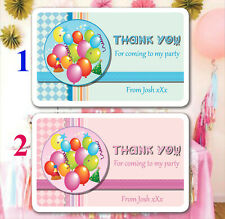 42 Personalised Birthday Party Bag Stickers Sweet cone Labels Balloons