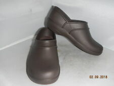 Crocs Womens Neria Work Brown Rubber Solid Clogs Comfort Nurse size 6M