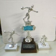 3 Vintage 1970s Wood Marble and Metal Topper Bowling Trophies ~ Mens
