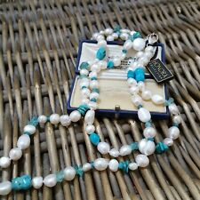 "HONORA CULTURED PEARLS, TURQUOISE & TOPAZ NECKLACE, 40"", 925 SILVER CLASP, BNWT"