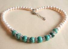 Freshwater Pearl Turquoise Gemstone Wedding Party Fashion Necklace Gift Bag