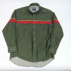 Wrangler Mens Long Sleeve Button Up Cowboy Shirt Green Red Size 16 1/2 36