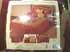 7 pc Red Wine Tan Bed in Bag Queen Embroiderd Comforter Skirt 2 Shams 3 pillows