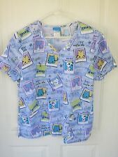 Scrub HQ L Women's Blue with Cute Kitties and Puppies Scrub Top with Pockets