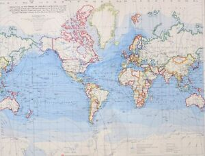 1958 LARGE MAP WORLD SURFACE ROUTES GULF STREAM OCEAN CURRENTS SHIP CANALS