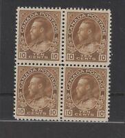 CANADA #118 block of 4 Admiral VF dry printing