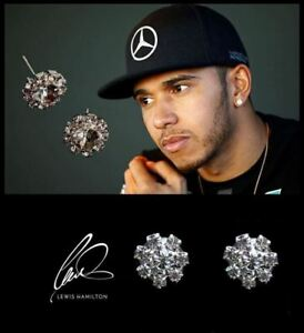 Men's: Lewis Hamilton Oversized BLING Cubic Zirconia Crystal Gemstone Earrings