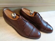 Bally cap toe brogue UK 11 45 mens vtg full leather tan brown cable stitch derby