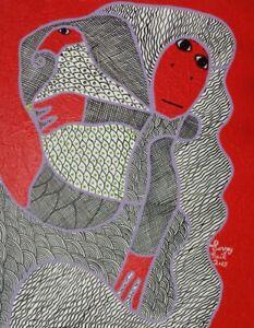 "ORIGINAL HAITIAN ART PAINTING FAMOUS LEVOY EXIL ABSTRACT FIGURES VOODOO 20""x16"""