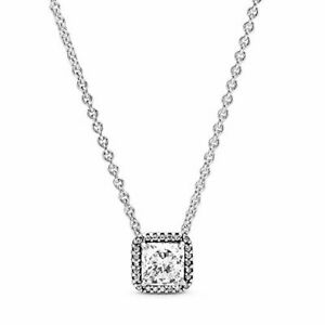 Pandora Jewelry Square Sparkle Halo Cubic Zirconia Necklace in Sterling Silver,