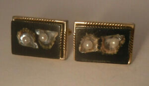 Vintage Swank 50s 60s Cufflinks Clear Black Lucite w REAL Oyster Shell & Pearls*