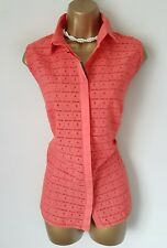 M&S Collection Orange Cotton Sleeveless Summer Blouse UK 22 BNWT