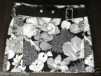 BURBERRY LONDON Skirt Kilt Floral Wrap & BELT Black White Grey UK10 US8 IT42 NWT