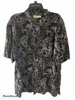Joseph & Feiss Mens Hawaiian Shirt XXL Floral Pattern 100% Silk Button Down 2XL