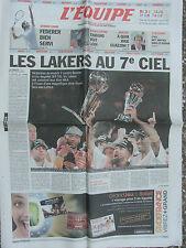 L'Equipe du 19/6/2010 (2eme cahier) - Les Lakers - Federer - Tamgho - Guazzini
