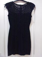 BEAUTIFUL SLEEVELESS BLACK LINED STRETCH DRESS, SIZE UK 8