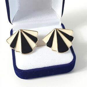Black Cream monochrome Gold Tone Shell Wing Deco Mod Vtg Style Stud Earrings