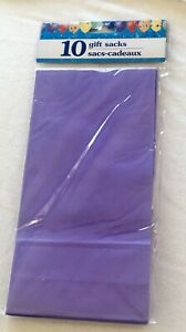 Purple Gift Sacks Party Favor Treat Bags 10 Pack Paper 9.5 x4.5 Easter Birthdays