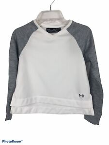 UNDER ARMOUR Athletic Top Size Youth Unisex Small Gray & White Cold Gear