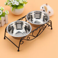 Pet Food Bowl Dog Cat Water Iron Stand Stainless Steel Dish Puppy Feeder Double