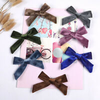 Newborn Kid Velvet Knotted Bow Hair Clip Solid Color Baby Hairpin Girl Barrettes